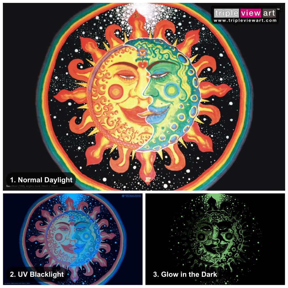 """Sun+Moon"" UV-Blacklight Fluorescent & Glow-In-The-Dark"