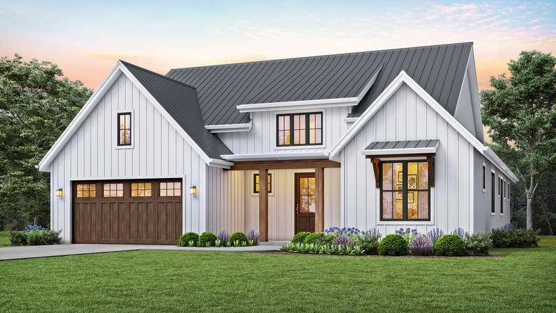 Compact Modern Farmhouse With Vaulted Greatroom House Plan 1152c The Humboldt Is A 1878 Sq Farmhouse Style House Modern Farmhouse Plans House Plans Farmhouse