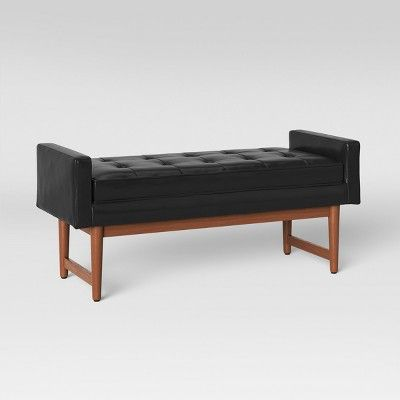 Terrific Verken Mid Century Modern Faux Leather Bench Black Project Inzonedesignstudio Interior Chair Design Inzonedesignstudiocom