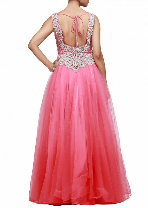 A beautiful gown in pink with embroidered bodice  by Kalki