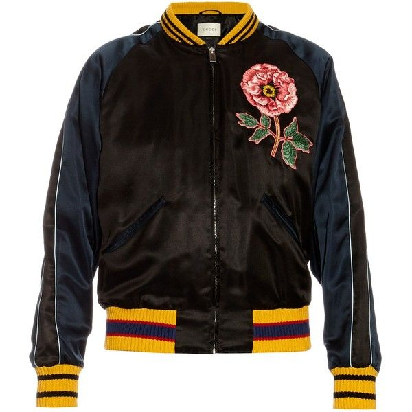 44d0bf0e2 Gucci Flower and snake appliqué satin bomber jacket ($3,150) ❤ liked on  Polyvore featuring men's fashion, men's clothing, men's outerwear, men's  jackets, ...
