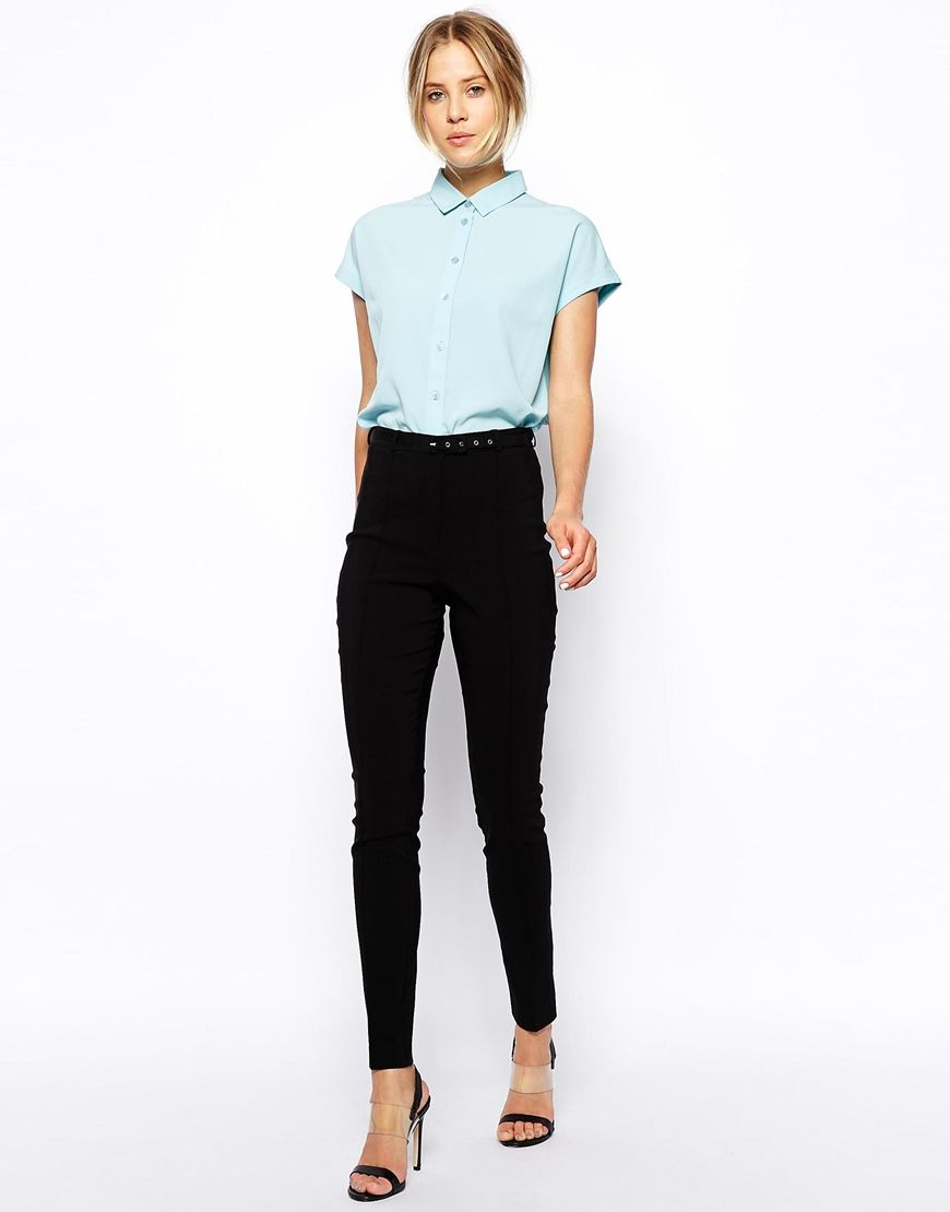 e8d546514cf0 High Waist Belted Pants in Skinny Fit   La Mode   Nerd outfits ...