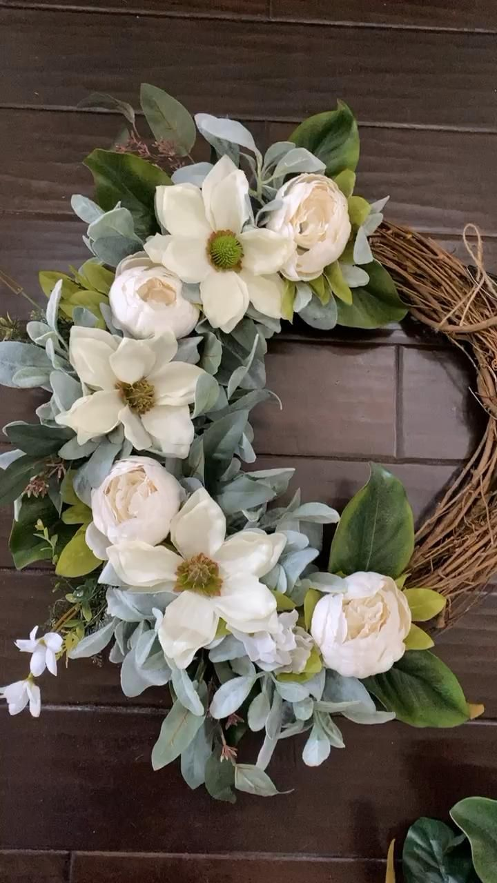 Photo of Peony and magnolia wreath