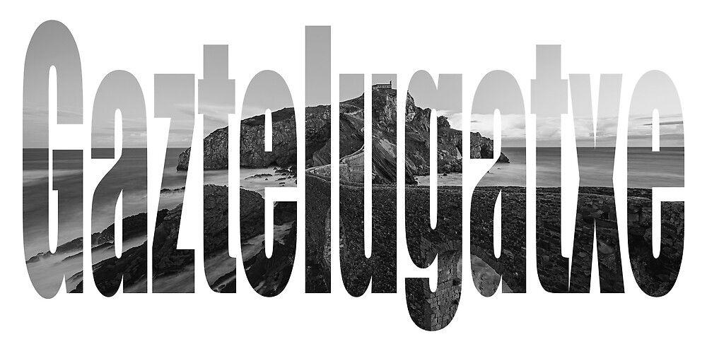 Lienzo con el texto Gaztelugatxe