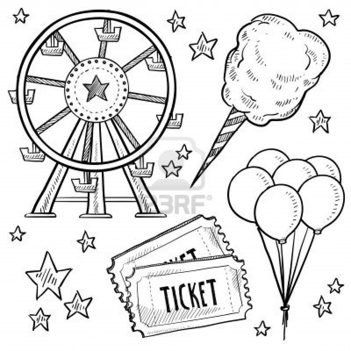Doodle Style Amusement Park Or Carnival Equipment Sketch