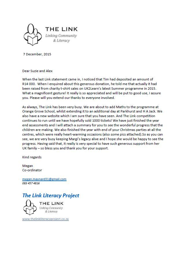Charity Legacy Thank You Letter Below Can See Some Photos The Link
