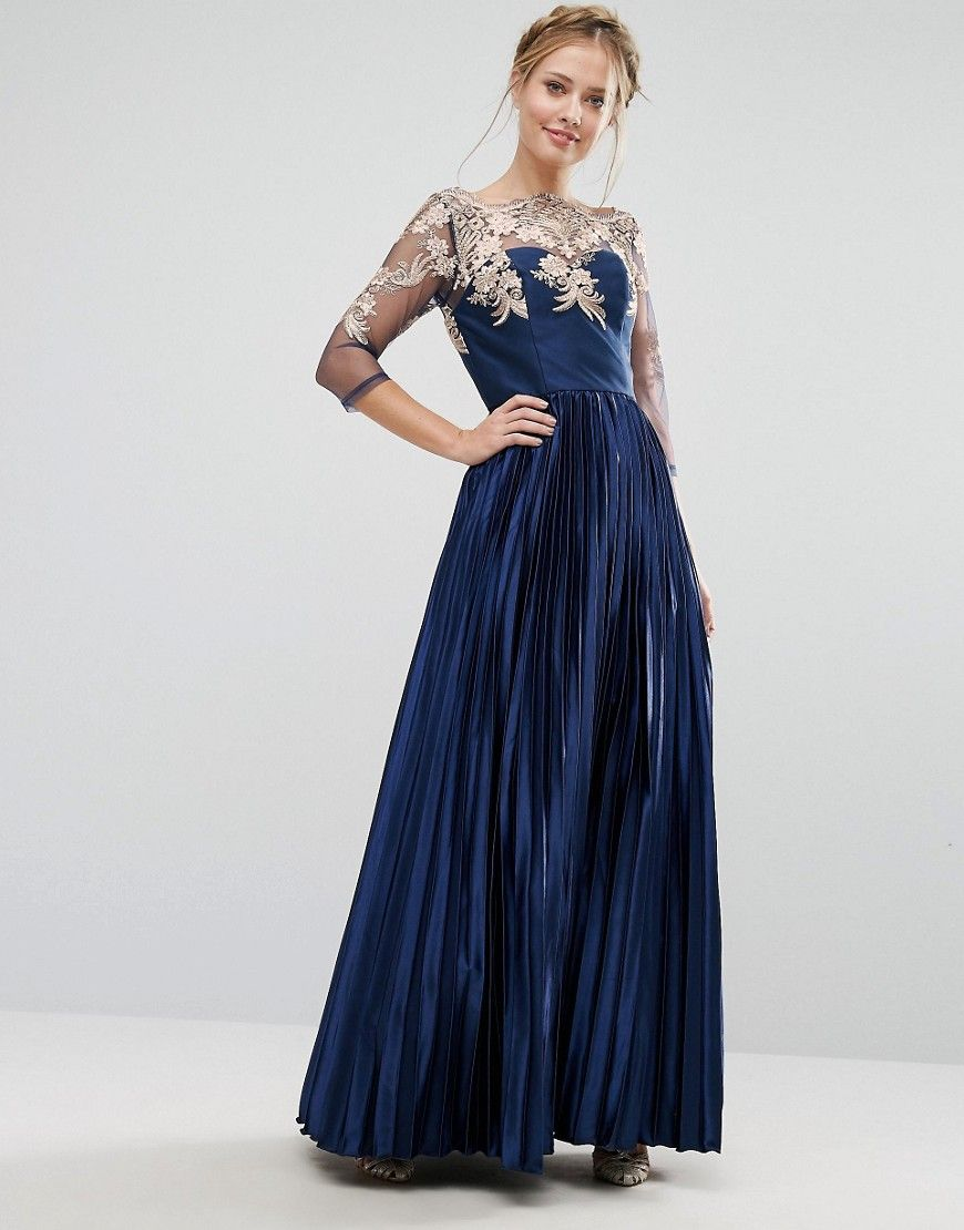 ce7cdb63b58 Blue Long 1950s Prom Dresses Chi Chi with Sleeves
