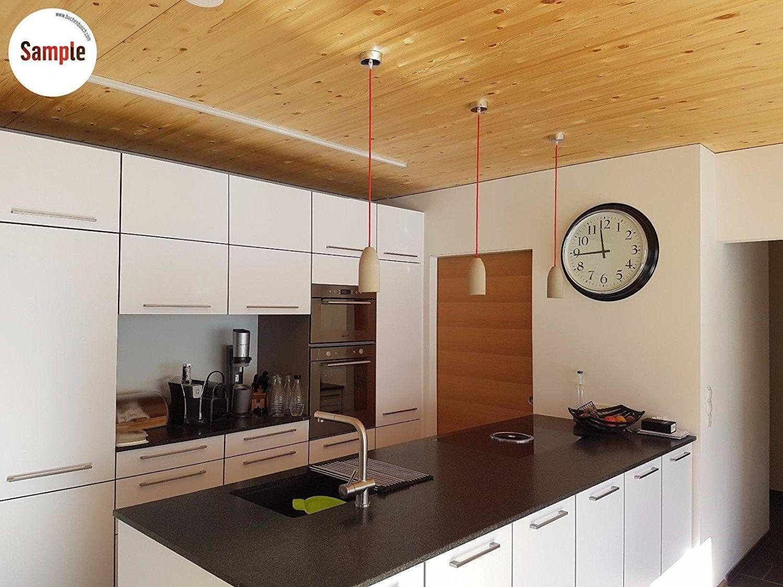 Betonlampe h ngend textilkabel baumwolle 19 farben for Led esszimmerlampe dimmbar