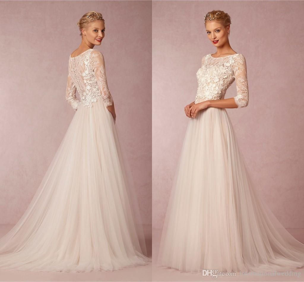 Casual wedding dresses with sleeves  Cheap  Modest Wedding Dresses With Sleeves Sexy Sheer Lace