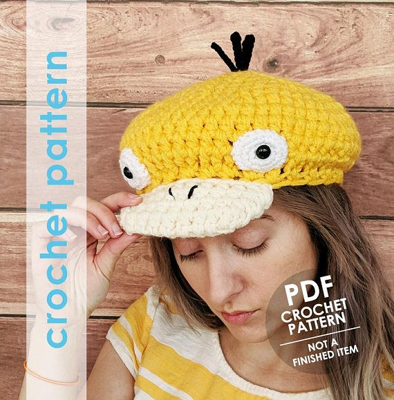 Pokemon crochet pattern, psyduck hat, beret newsboy hat crochet ...