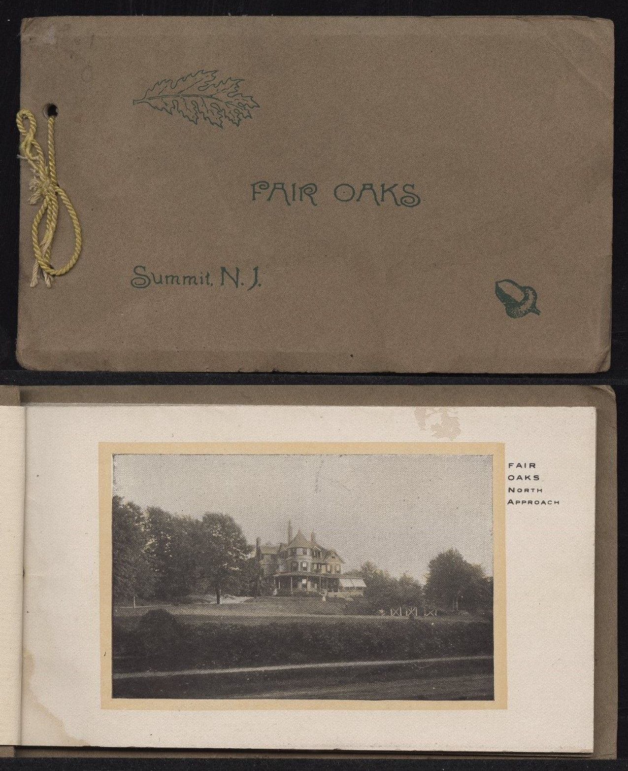 Pamphlet on the Fair Oaks Sanatorium in Summit, New Jersey, operated by Dr. Eliot Gorton and Dr. Thomas P. Prout. The pamphlet provides details on the treatments offered and includes pictures of the facility with both exterior views of the building, gardens and porch, and interior views of therapy rooms, dining room and library. Dated circa 1900–1940. From the J. Bryan Grimes Papers (#54), East Carolina Manuscript Collection, J. Y. Joyner Library, East Carolina University, Greenville, N.C.