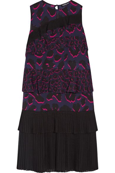 Very Cheap Comfortable Cheap Online Markus Lupfer Woman Tiered Ruffled Leopard-print Silk-georgette Dress Purple Size M Markus Lupfer n1Fpu8VS