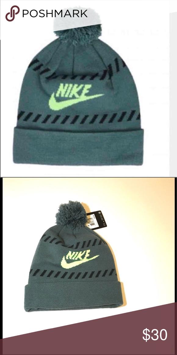 b01215fc291 New Nike green hat beanie with Pom New Nike green hat beanie with Pom. Nike