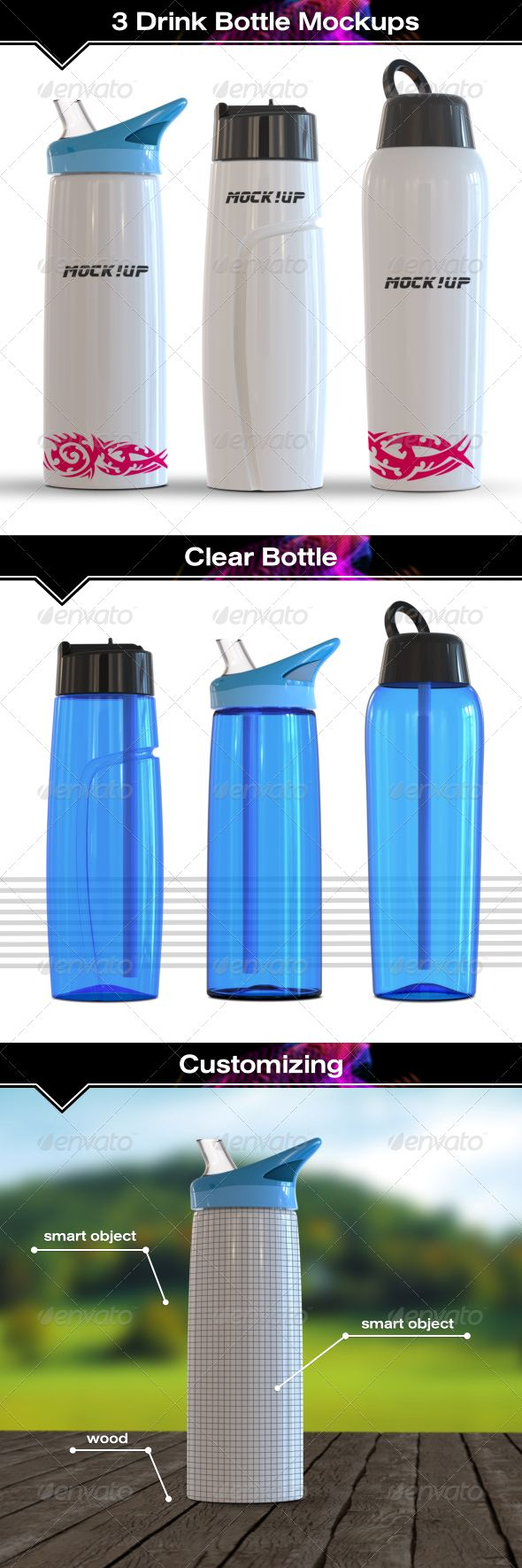 Download 3 Sport Bottle Mockup Bottle Mockup Sport Bottle Bottle