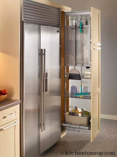 Storage Issues In Your Kitchen Add A Fun Pull Out Broom Closet To