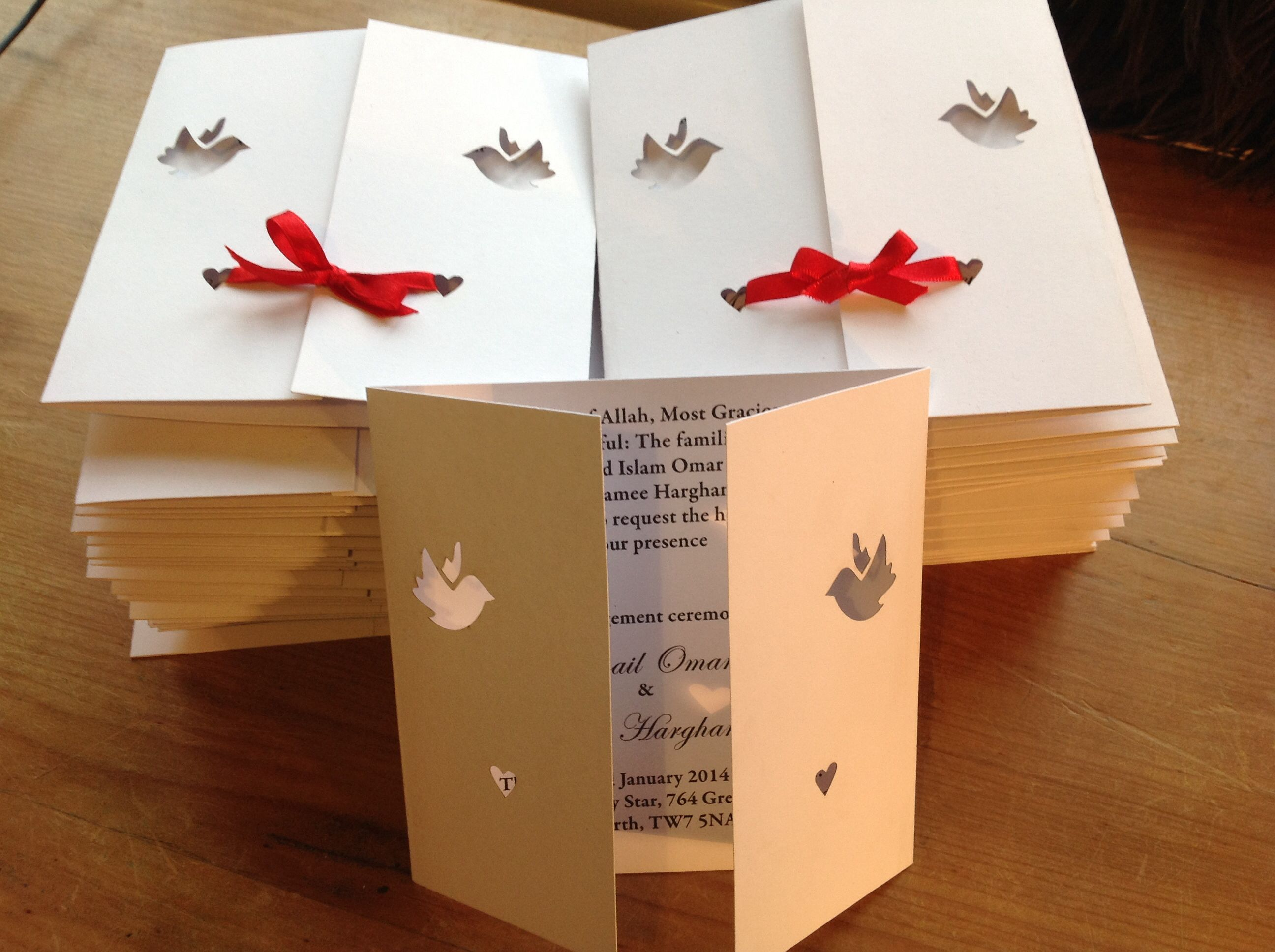 Laser cut dove gate fold wedding invitations are available from www ...
