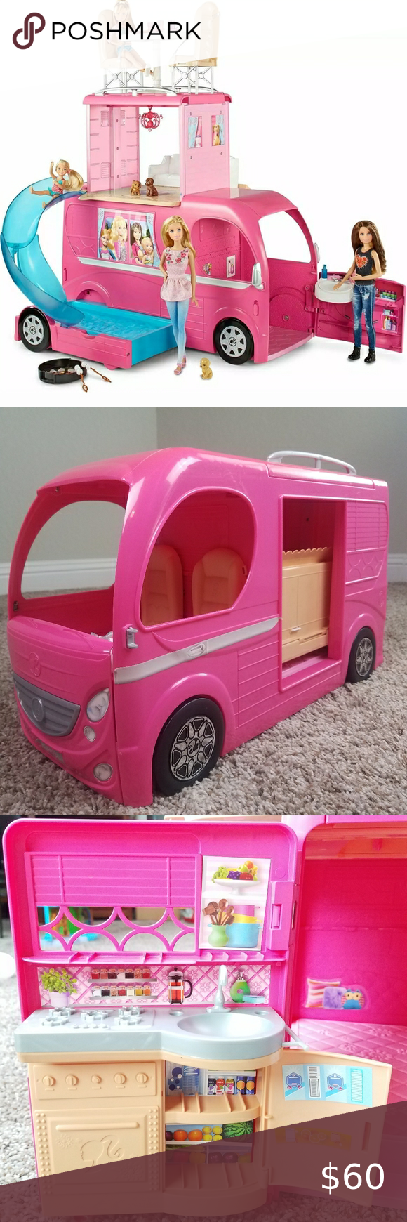 Barbie Camping Rv Kids Toy Vehicle Barbie Camper Rv Kids Toys Driver Cab Transforms Into Bathroom Inside Has Living And Matt In 2020 Barbie Camper Kids Toys Rv Camping