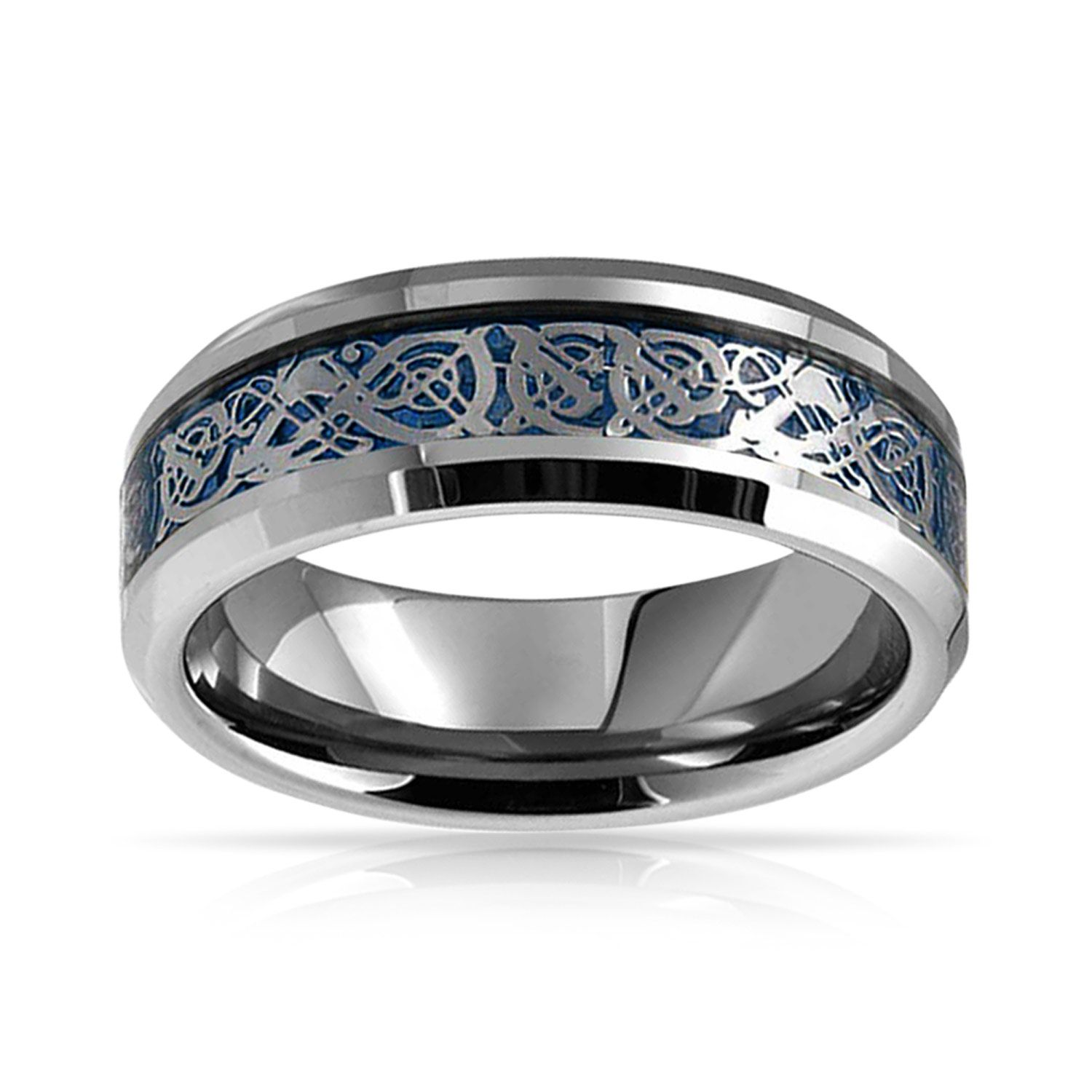 Blue Celtic Knot Dragon Inlay Wedding Band Tungsten Ring