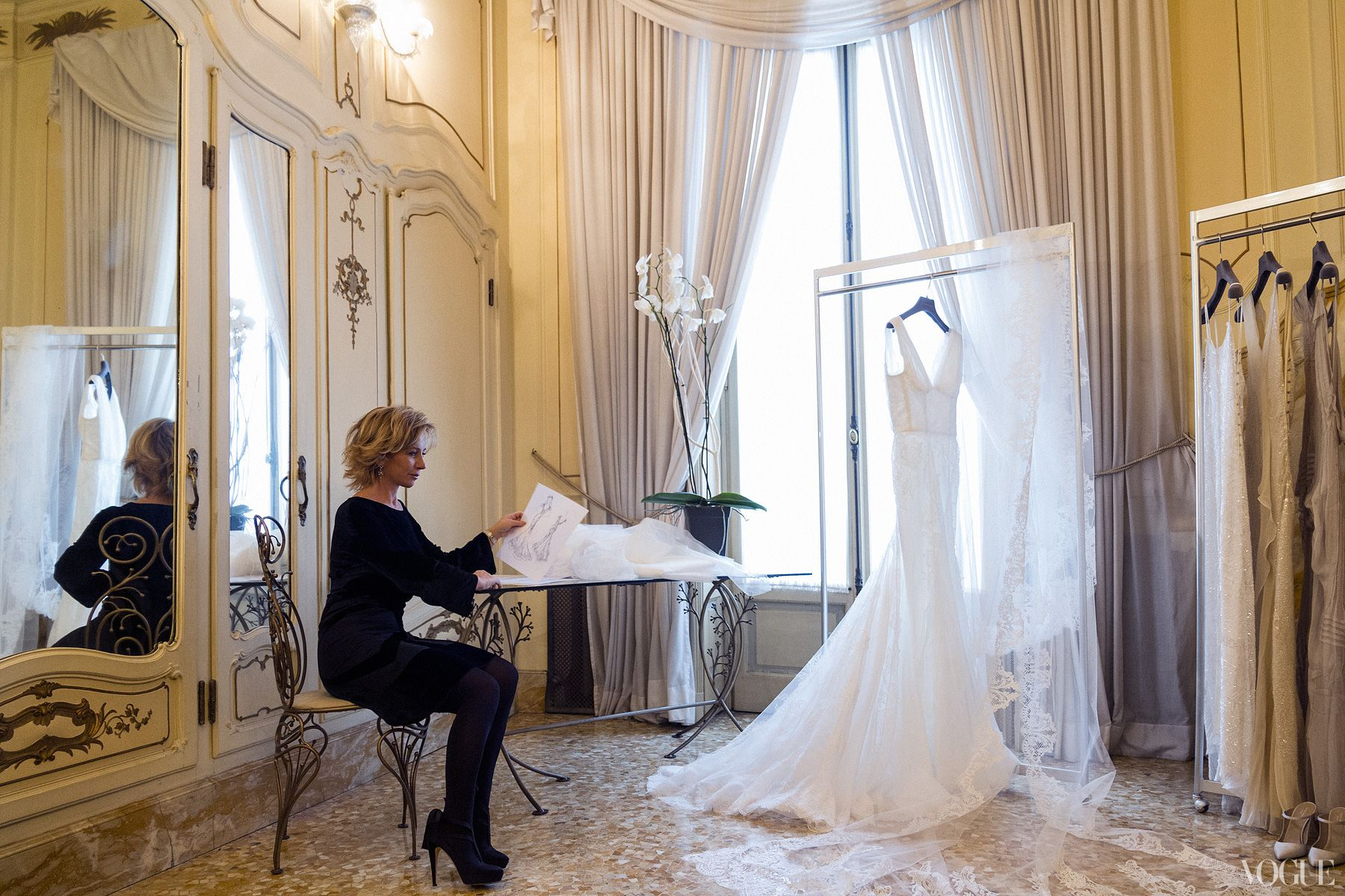 Trying on wedding dresses for the first time  Alberta Ferretti waits for Lake to see the dress Candice Lake and
