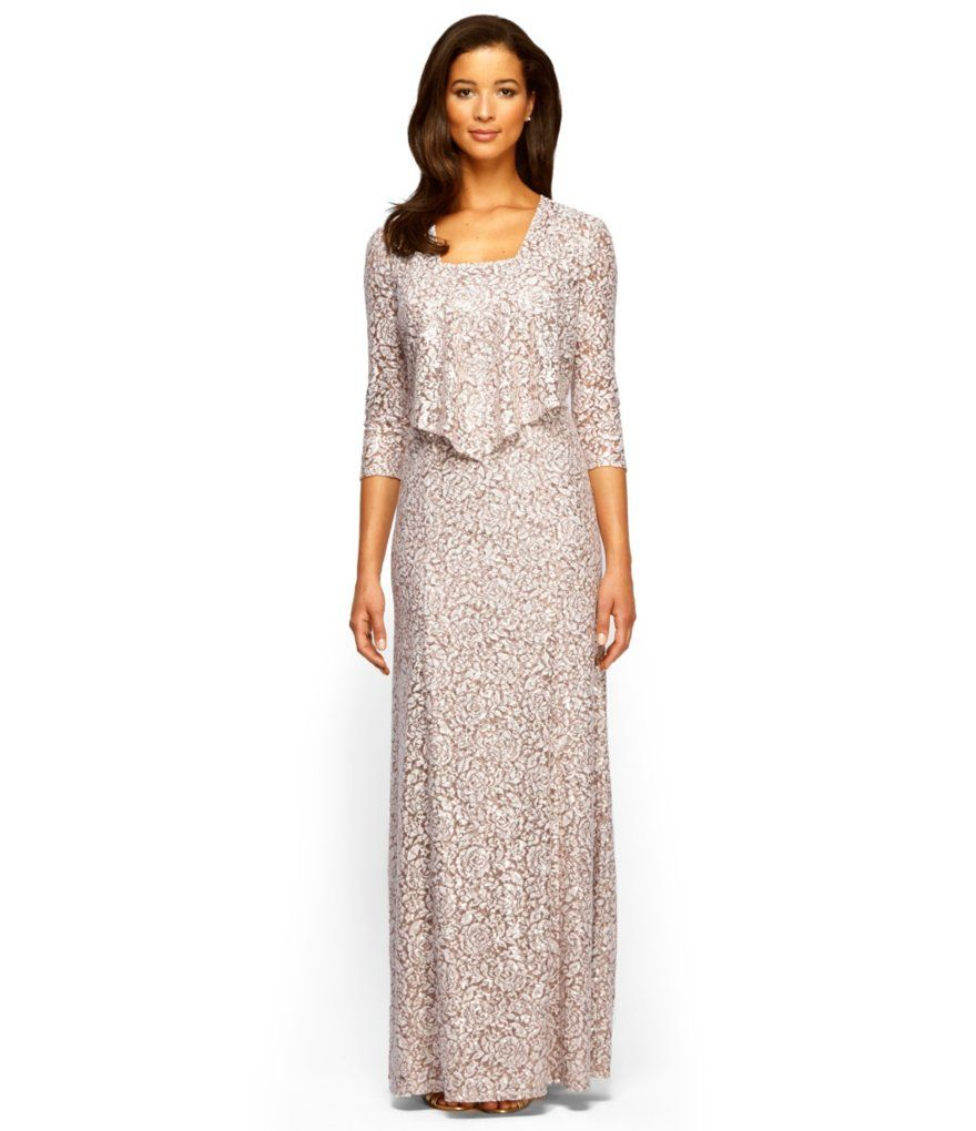 Champagne/Ivory:Alex Evenings Lace A-Line Jacket Dress | Wedding ...