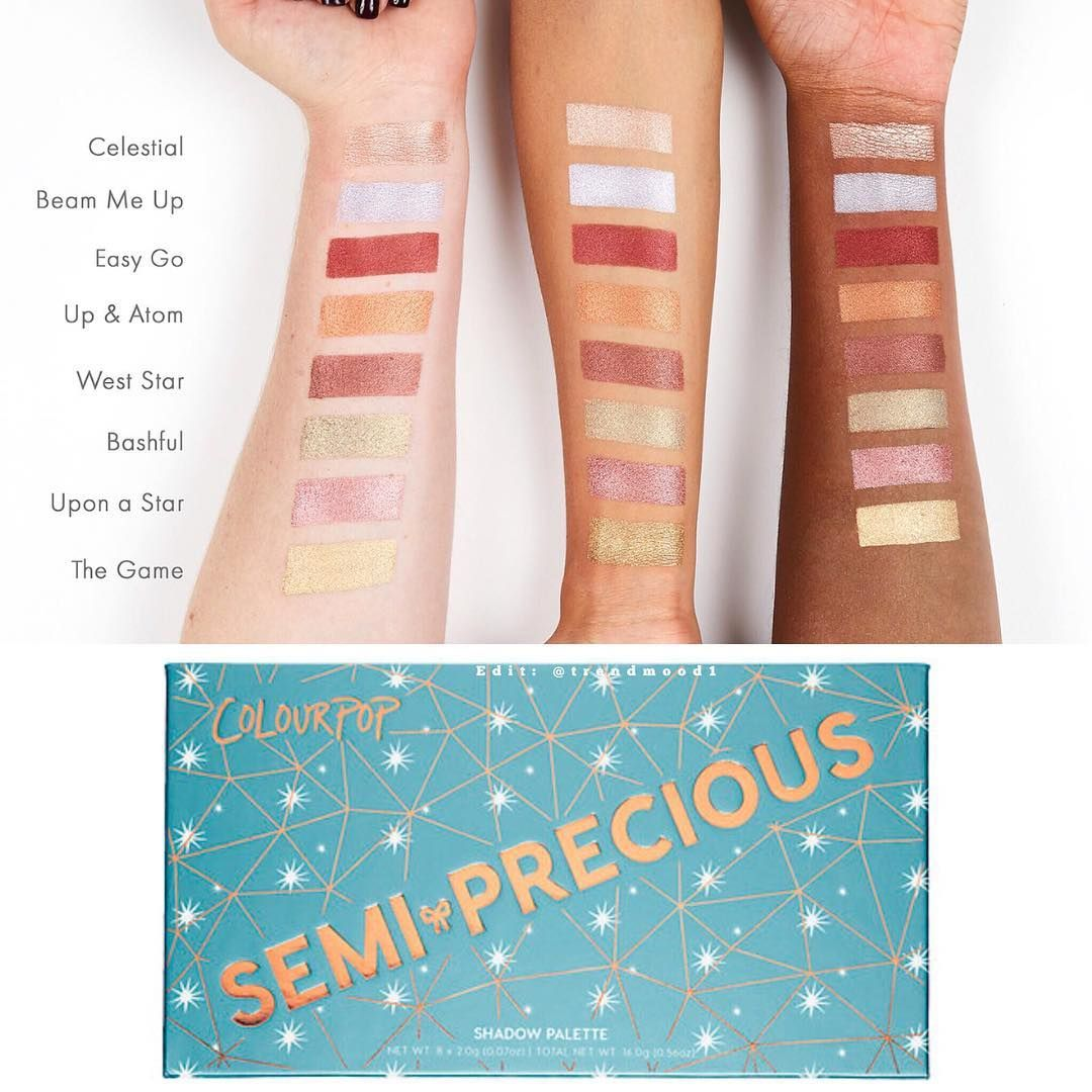 Swatches Colourpop Semi Precious Palette | FALL/WINTER 2017 MAKEUP ...