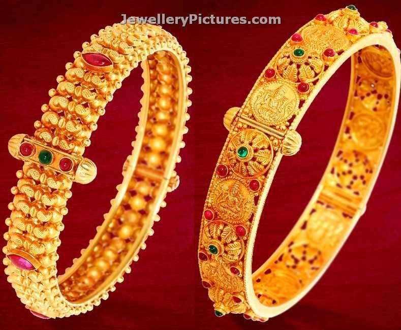 22 carat gold bangles kankanalu design sin GRT jewellers. rubies and ...
