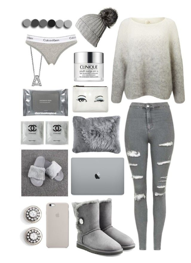 """""""Sans titre #77"""" by forever-219 ❤ liked on Polyvore featuring Roberto Coin, Calvin Klein Underwear, Kate Spade, Dermalogica, Clinique, Pier 1 Imports, UGG, Des Petits Hauts, Black and Topshop"""