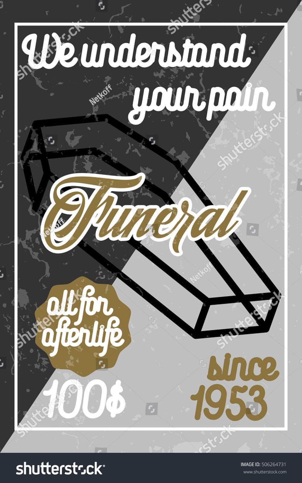 Color vintage funeral poster ad affiliate vintage