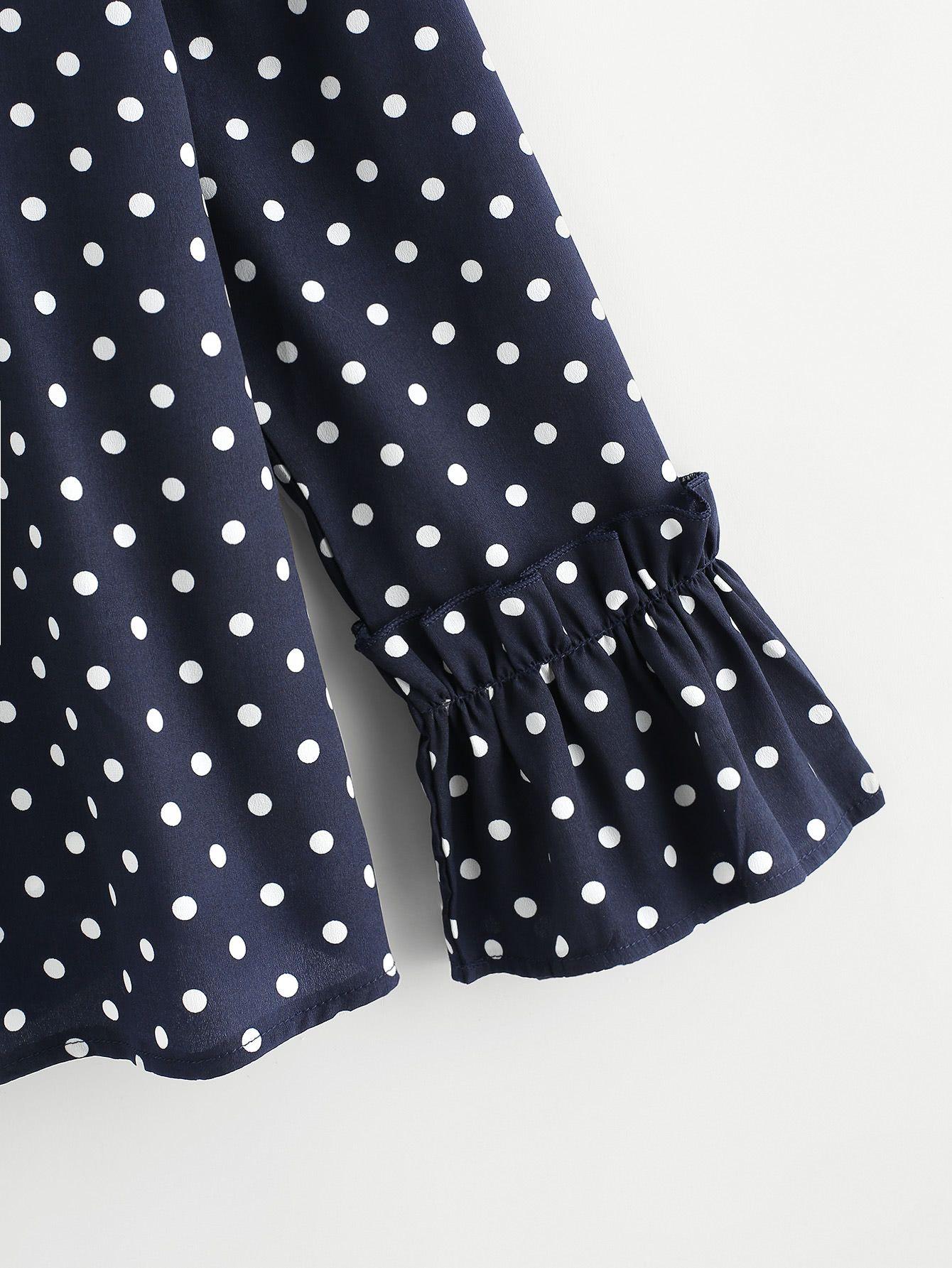 Frill Trim Polka Dot BlouseFor Women-romwe #blousedesigns
