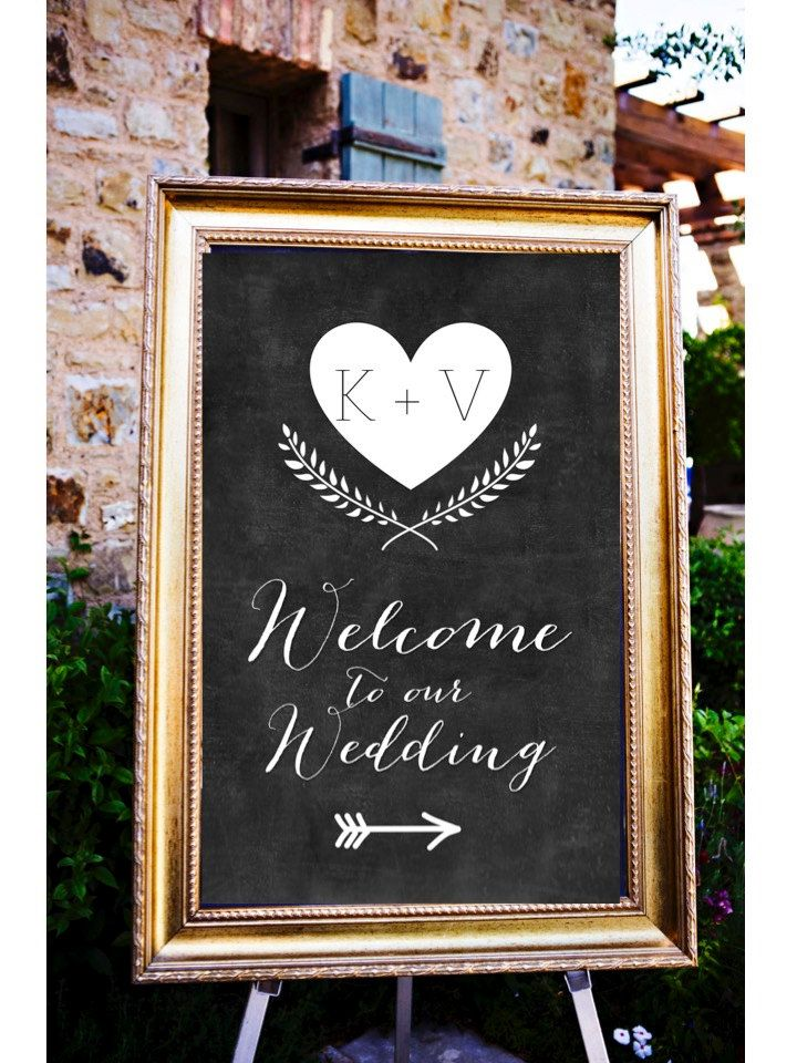 Chalkboard to our wedding personalized sign by