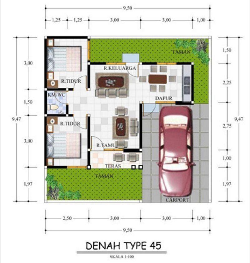 Denah Rumah Ukuran 9x10 Terlihat Indah | Denah Rumah, Rumah Minimalis, The  Plan