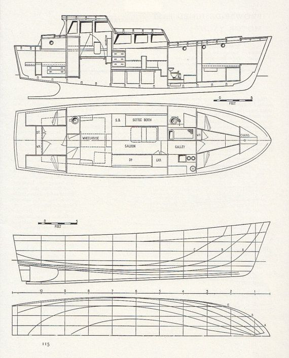 boat technical drawing boat building by vintageandnostalgia, $14 95