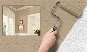 An interesting idea for ugly drop ceilings apt ideas - Can you wallpaper drop ceiling tiles ...