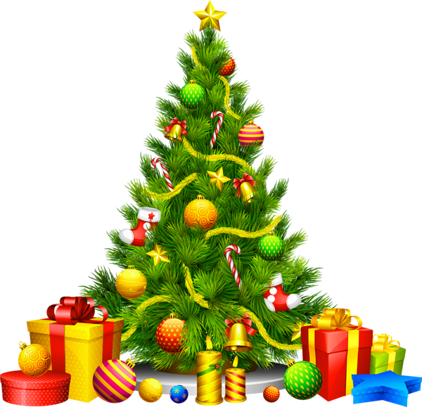 Christmas Clipart Transparent.Large Transparent Christmas Tree With Presents Clipart Png
