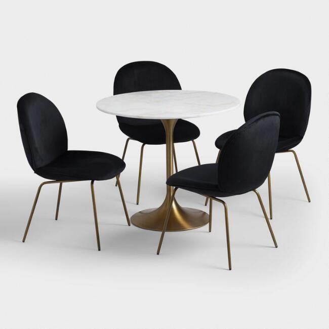 Black Velvet Vivian Dining Chairs Set Of 2 V7 Metaldiningchairs