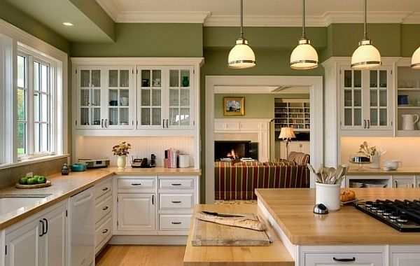fresh white kitchen furnitures with gray countertop on the ...