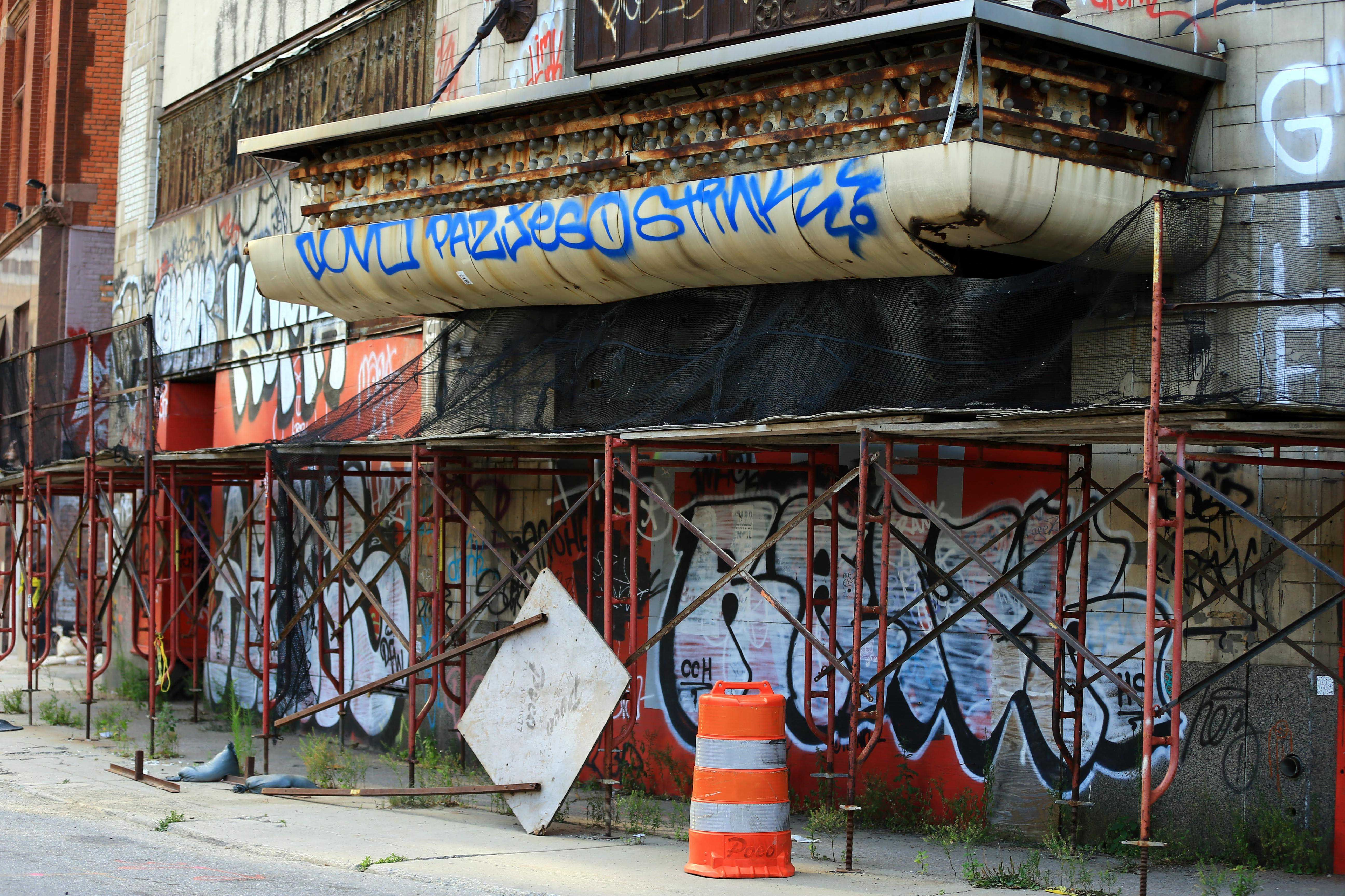 Abandon building in downtown Detroit after filing for