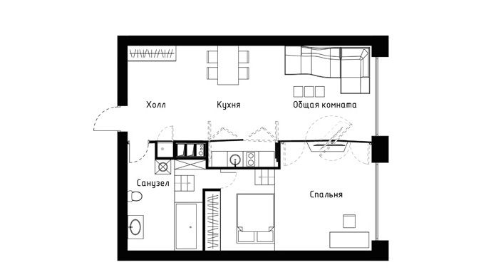Small apartment plans1 60 square meters apartment concept by vlad mishin for the home - Small housessquare meters ...