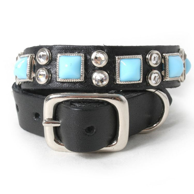 Blue Pyramid and Crystals on Black Leather Dog Collar
