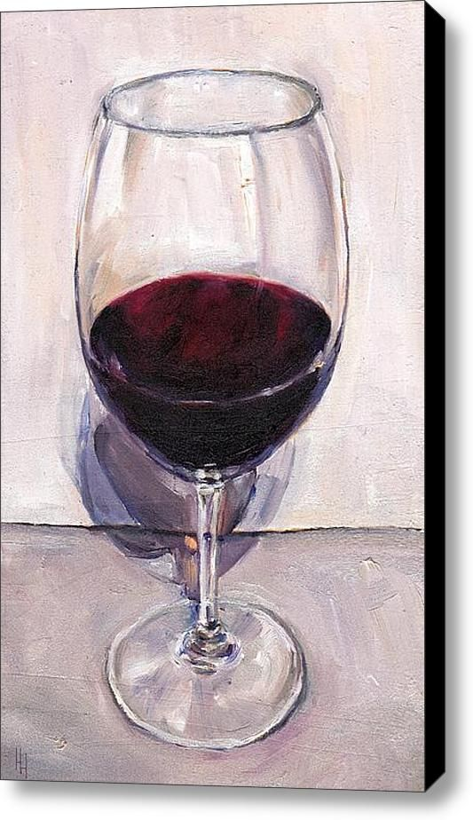 'Red Wine Glass Shadows'  / Stretched Canvas Print / Canvas Art / oil painting by Hannah Henry