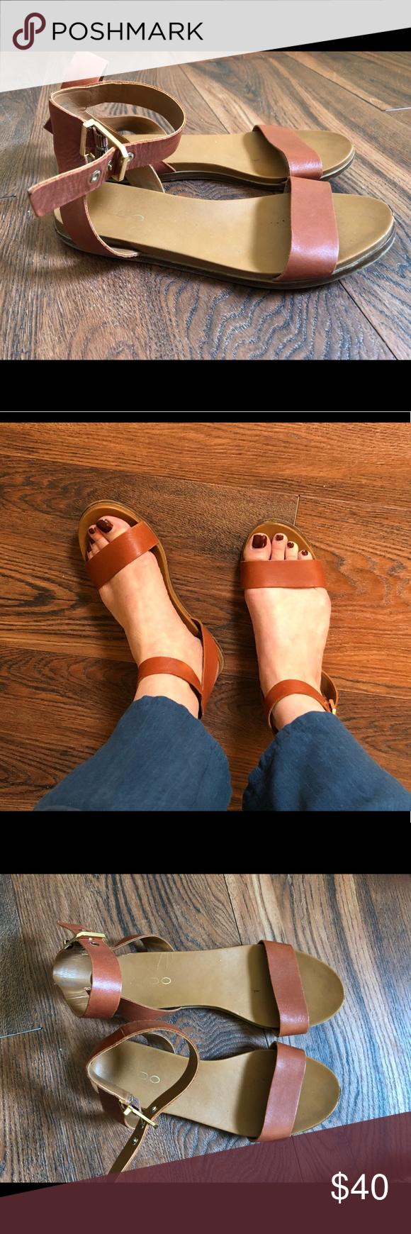 2552bc86435 ALDO Campodoro Sandal in Cognac Classic. Modern. Forever versatile. This  flat ankle-