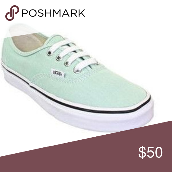 f393ac1c119d77 Vans Authentic Green White Lace Skate Shoes 10 NWT Vans Authentic Gossamer  Green True White Lace Skater Shoes Women 10 Men 8.5 NIB New from smoke-free  home.