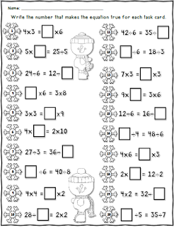 math worksheet : free winter equal equations worksheet using multiplication and  : Multiplication And Division Equations Worksheets