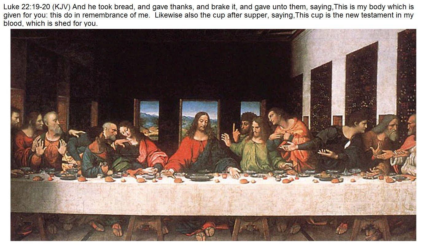 Luke 221920 (KJV) And he took bread, and gave thanks