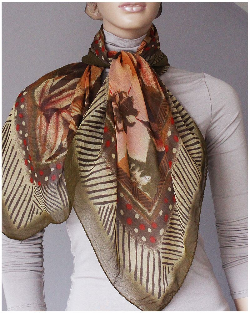 Szyfonowa Chusta Apaszka Vintage Jesienne Liscie 7382332365 Oficjalne Archiwum Allegro Moda Boho Hippie Boho Fashion