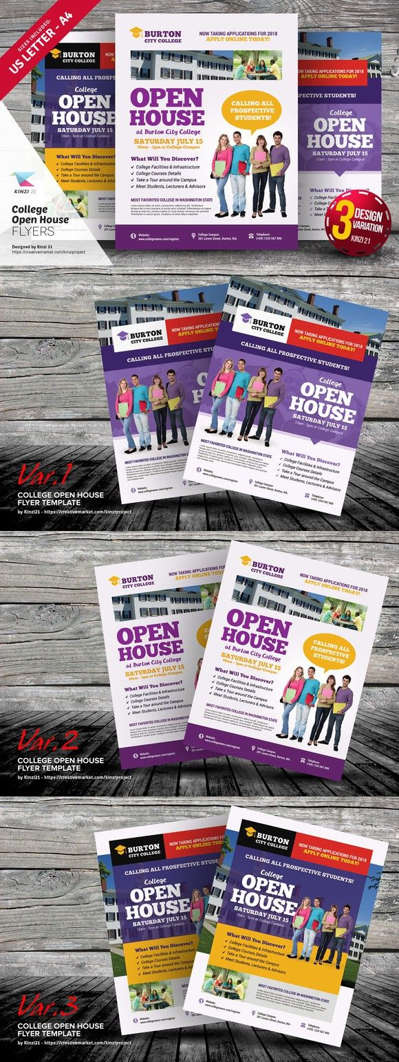 College Open House Flyer Templates Flyer Templates   Flyer
