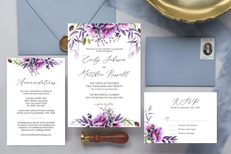 Lavender Floral Wedding Invite Cottage Floral Editable Corjl Template 126 Garden Blooms Boho Floral Arch Wedding Invitation Purple