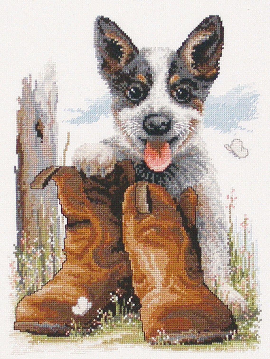 Country Threads Cross Stitch Kit Bluey's Boots Australian