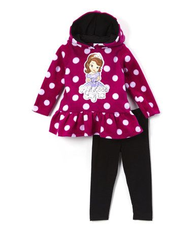 Another great find on #zulily! Dark Pink 'Princess Sofia' Tunic & Black Leggings - Girls #zulilyfinds