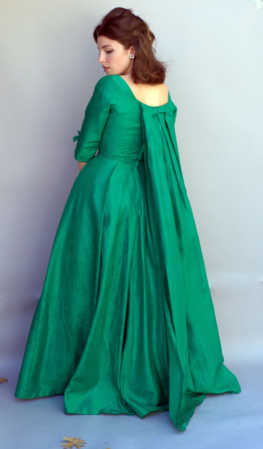 Vintage 1960s Dress - Marie Antoinette Kelly Green Ball Gown with ...